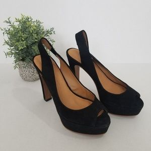 Zara Black Peep Toe Pumps